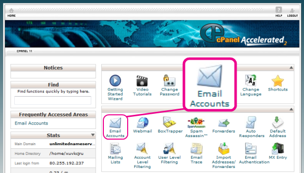 Select Email Accounts